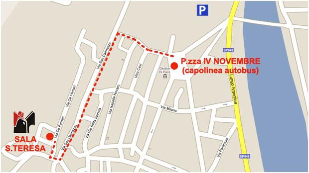 La mappa per raggiungere la sala Santa Teresa a Taggia